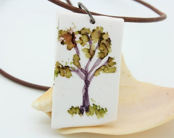 One Tree hand painted polymer clay pendant necklce