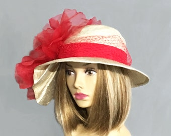 "Kentucky Derby hat, ""Sonya"", beautiful straw hat with draped pleating on the side, and large Red flower"