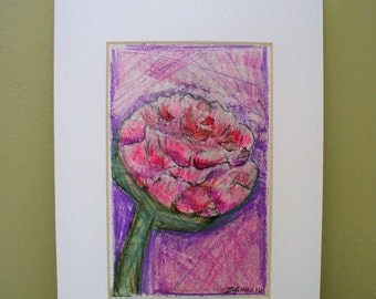 Peony Drawing Pink Shabby Chic Cottage Art Mini Watercolor