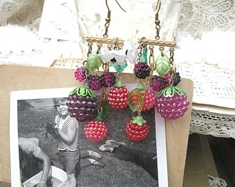 raspberry blackberry earrings assemblage cottage chic summer berry fruit recycled vintage jewelry
