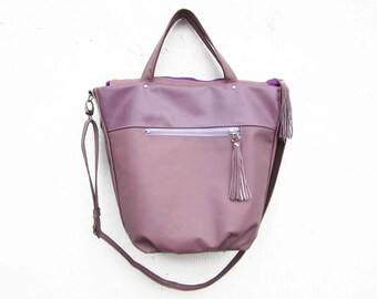 womens leather handbag,  leather tote, parrot leather purse, purple tulip leather tote boho leather bag shopper, office bag,mothers day