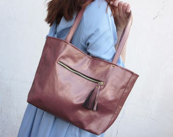 copper pink womens leather tote, rose gold leather bag minimal , hobo, shoulder bag, work  everyday bag spring fashion, mothers day,gift