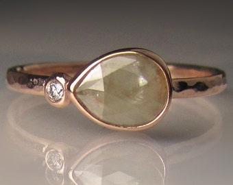 14k Rose Gold Rose Cut Diamond Engagement Ring, Hammered Rose Cut diamond Ring, 14k Rose Gold Diamond Multistone Ring,  OOAK