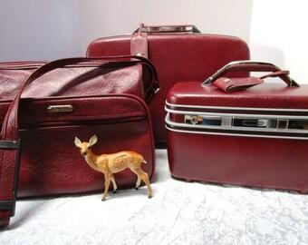 SUMMER SALE 3 Piece Vintage Luggage Set Samsonite Silhouette TrainCase Complete w/ Key Tag Mirror + Shoulder Bag + Weekender Suitcase Maroon