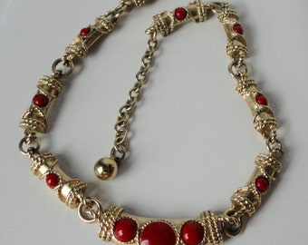 Gold tone with Red Lucite Cabochons  Choker Necklace.