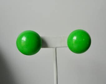 VOGUE Apple Green Lucite Ball Clip on Earrings.