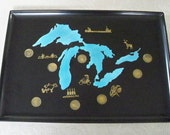 Vintage Serving Tray Collectible Great Lakes State Coins Rare Couroc of Monterey Mid Century Modern