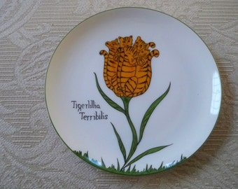 Vintage Home Serving Plate Collectible Tigerlillia Terribilis Plate Funny Garden Plate