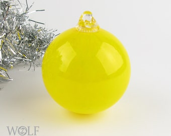 Blown Glass Christmas Tree Holiday Ornament Bauble Sunny Yellow