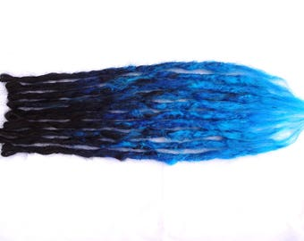 """10 Synthetic Dreads. Black Blue ombre dreads. Thin high heat kanekalon. Synthetic Dreadlocks. Ready to ship. Black and blue Dreads 15"""" long."""