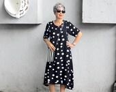 Wayan Swing Dress, Midi, Sleeves, Round Neck, Resort, Cruise, Beach, Boho, Black and White Dots, Instagram: @mybalicloset