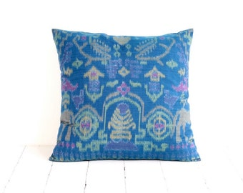 Indonesian Ikat, Pillow, Cushion, Hand Woven, Hand Dyed, 16 x 16, Teal