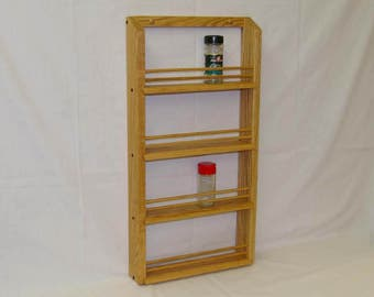 Oak Wooden 4-shelf Classic Spice Rack
