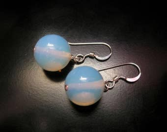 Opalite Earrings, Opalite Globe Earrings, Opalite Jewelry, Round Stone Earrings, Opalite Dangle, Sterling Silver, Opalite and Sterling