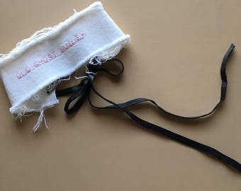 Custom embroidered denim corset choker