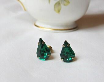 Emerald Green Earrings. Ear Studs Vintage Crystal Glass Teardrop Pear. Glam It Up Jewellery dspdavey Jewelry. Cute Small Handmade Hollywood