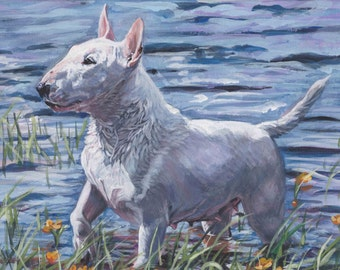 "miniature BULL TERRIER dog art canvas PRINT of LAShepard painting 12x16"""