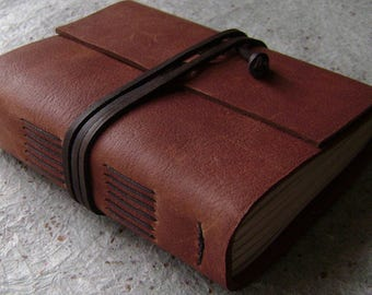 """Leather journal, 336 pages, 4"""" x 6"""", rustic brown journal, old world journal, travel journal, (2445)"""