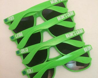 Personalized Sunglasses, Bachelorette Party Favors, Bachelorette Favors, Greenery, Bridesmaid Gift, Wedding Favors, Color of the Year