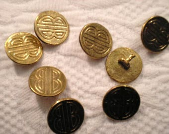 VINTAGE Bill Blass goldtone metal buttons with shanks.  1 dozen and Ready to Ship.