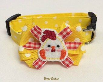 Ruling The Roost Baby Rooster Dog Collar Size XS through Large by Doogie Couture Pet Boutique
