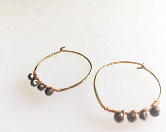 Wire weapped pirite hand hammered hoops