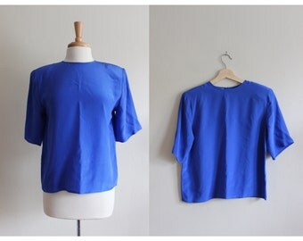 Vintage Cobalt Blue Silk T-Shirt Top