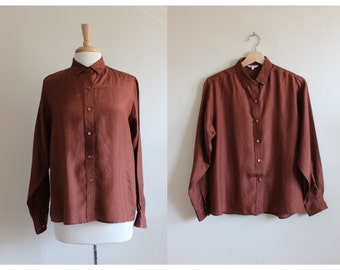 Vintage Long Sleeve Rust Silk Button Up Top