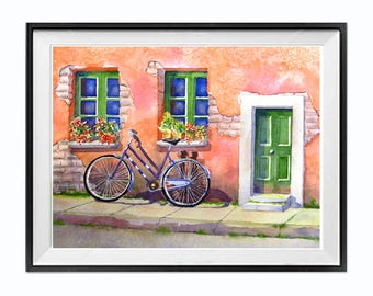 Italian Village Watercolor Prints:  Bicycle Art Coral painting Road trip travel print Laberge Muren Studio