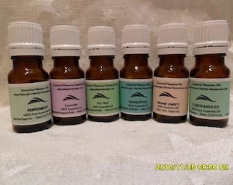 Essential Oil Kit Set of Six 10ml Essential Oils  w Gift box
