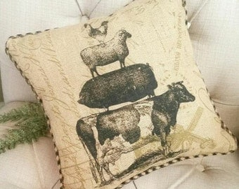 SHOP HOP ITEM Burlap Farmyard Animal Stack Pillow