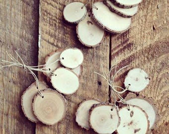 Rustic Wood Slice Tags  Odds and Ends Mix of 15 Tags