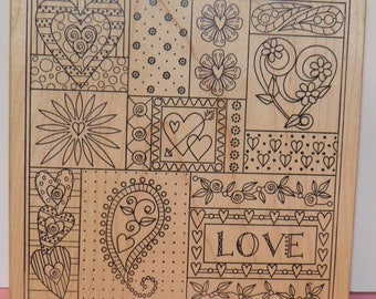 Love Collage Rubber Stamp