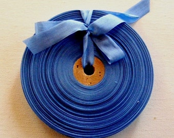 Vintage 1930's-40's French Woven Ribbon -Milliners Stock- 5/8 Inch Gorgeous Ocean Blue