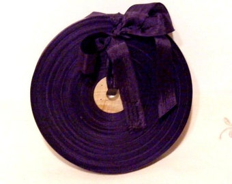 Vintage 1930's-40's French Woven Ribbon -Milliners Stock- 5/8 inch Eggplant Purple