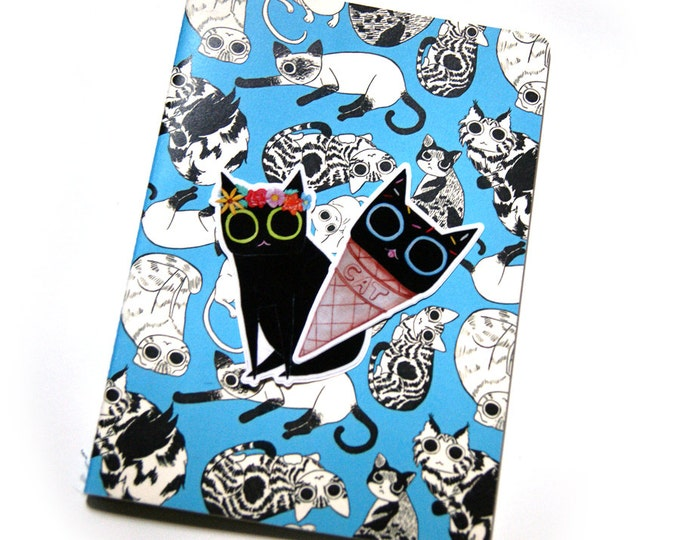 Featured listing image: All Over Cats Blank Sketchbook with Stickers