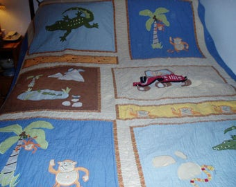 Vintage Large Child's Quilt with Animals