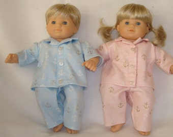 """15 Inch Doll Clothes/Pajamas/4 piece set made to fit 15"""" Bitty Baby Twin Dolls/READY TO SHIP"""