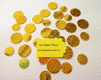 100 - Gold Iridescent/Holographic Polka Dot Confetti-Wedding Confetti- Shower Decoration-Party Decor-Table Scatter