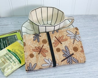Tea wallet - dragonfly Travel tea bag case - tea caddie - wallet for teabags - 4 pockets - dragonflies