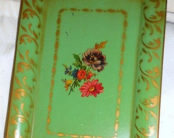 Social Supper  Metal Painted Tray Jade Green  / Home Decor / Serving Tray / Free Shipping
