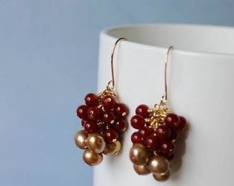 January sale Gold fresh water pearls 7-7mm, Agate gemstone beads 4mm,  wire wrapped, gold plated earrings.