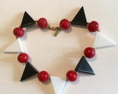 On SaLe Funky Vintage Black and White Lucite Triangles with Red Beads