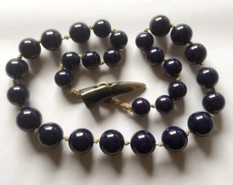 Clearance Navy Blue Beaded Handknotted Necklace