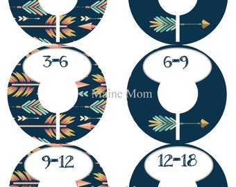 6  FULLY ASSEMBLED Closet Dividers Organizers, Baby Shower Gift,Navy, Teal, Arrows, Nursery Decor, Tribal