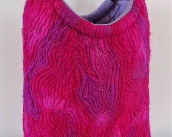 Hand felted handbag, designer made in shades of cerise/fuschia with contrast stitching.