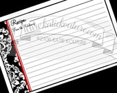 100 Recipe Cards Black and White Damask with Red Trim 4x6 custom