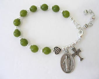 ST PATRICK IRISH Connemara Marble Single Decade Celtic Knot Rosary Bracelet-Ireland Jewelry