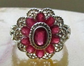 Beautiful Sterling Silver and Real Garnet Size 8 Ring with Cut Stones, Garnet