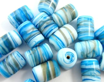 28 Glass beads blue swirls handmade lampwork beads 12mm x 8mm handmade glass beads Ind 28 (SB3),